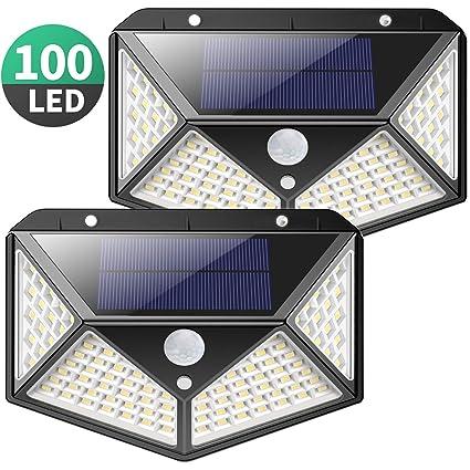 Luz Solar Exterior, Kilponen 100 LED Foco Solar Exterior Gran Ángulo 270° con Sensor de Movimiento 1800mAh Lámpara Solar Impermeable Solares de Pared ...