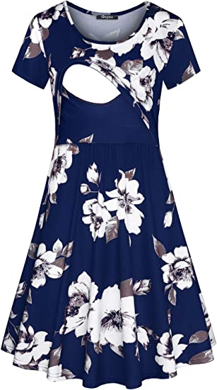 Nursing Dress Nursing Dress for Photo Shoot Maternity Dress in Navy and White Graphic and Floral Print Breastfeeding Dress