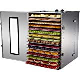 YOOYIST Commercial Stainless Steel Electric Food Dehydrator Machine, Meat or Beef Maker, Fruit Dryer with 16 Trays, Jerky Saf
