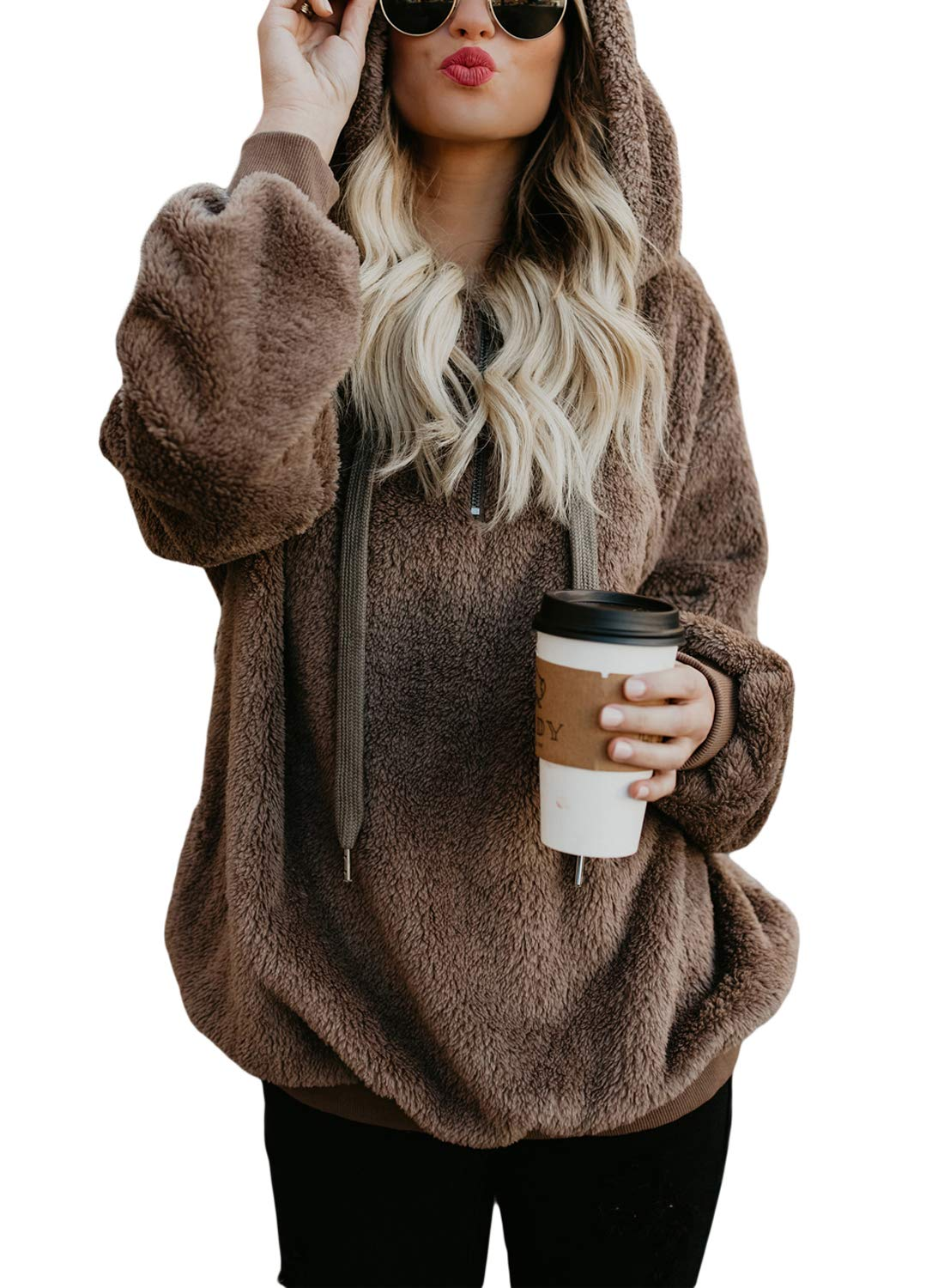 Dokotoo Womens Winter Plus Size Thick Fuzzy Sweatshirt Casual Loose Sweatshirt Hoodies Fleece Pullover Outwear with Pockets Coffee XX-Large