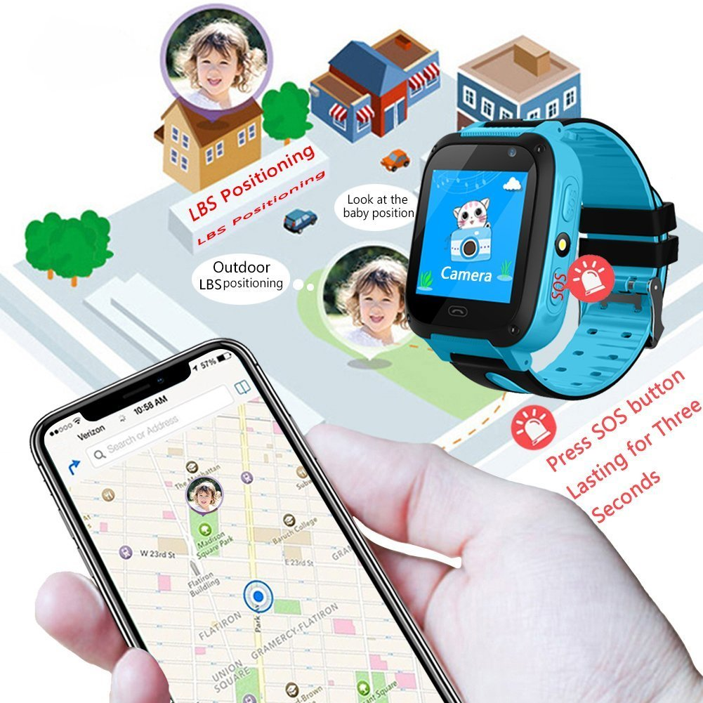 Kids Smart Watch Phone - Kids GPS Tracker Smartwatch for Girls Boys with Mobile Phone SOS Anti-lost Camera Game Touch Screen Children Outdoor Digital Wrist Watch Bracelet for Summer Holiday Gift by Kidaily (Image #3)
