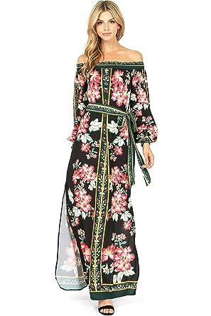 01356f1875f Jealous Tomato Women s Juniors Off Shoulder Split Leg Floral Maxi Dress (S
