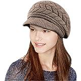 e72bf6dc160f69 Glamorstar Winter Knit Hat Stretch Warm Beanie Ski Cap with Visor for Women  Girl