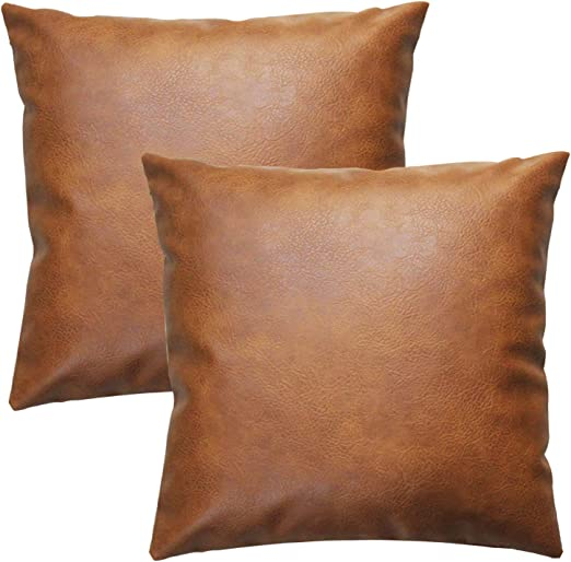 Amazon Com Jojusis Modern Leather Throw Pillow Covers For Couch Sofa Bed Set Of 2 18 X 18 Inch 100 Faux Leather Home Kitchen