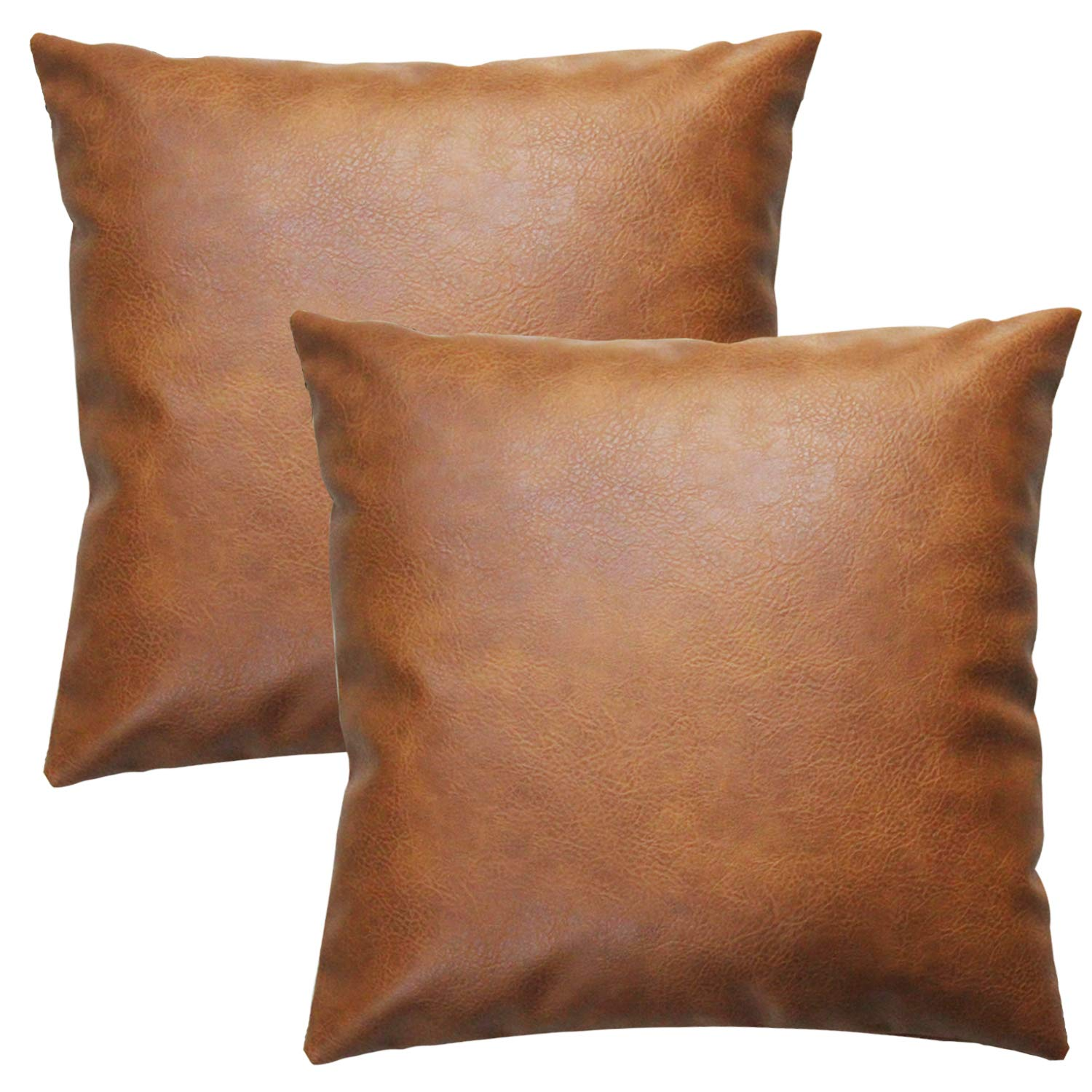 JOJUSIS Modern Leather Throw Pillow Covers for Couch Sofa Bed Set of 2 18 x  18 Inch 100% Faux Leather