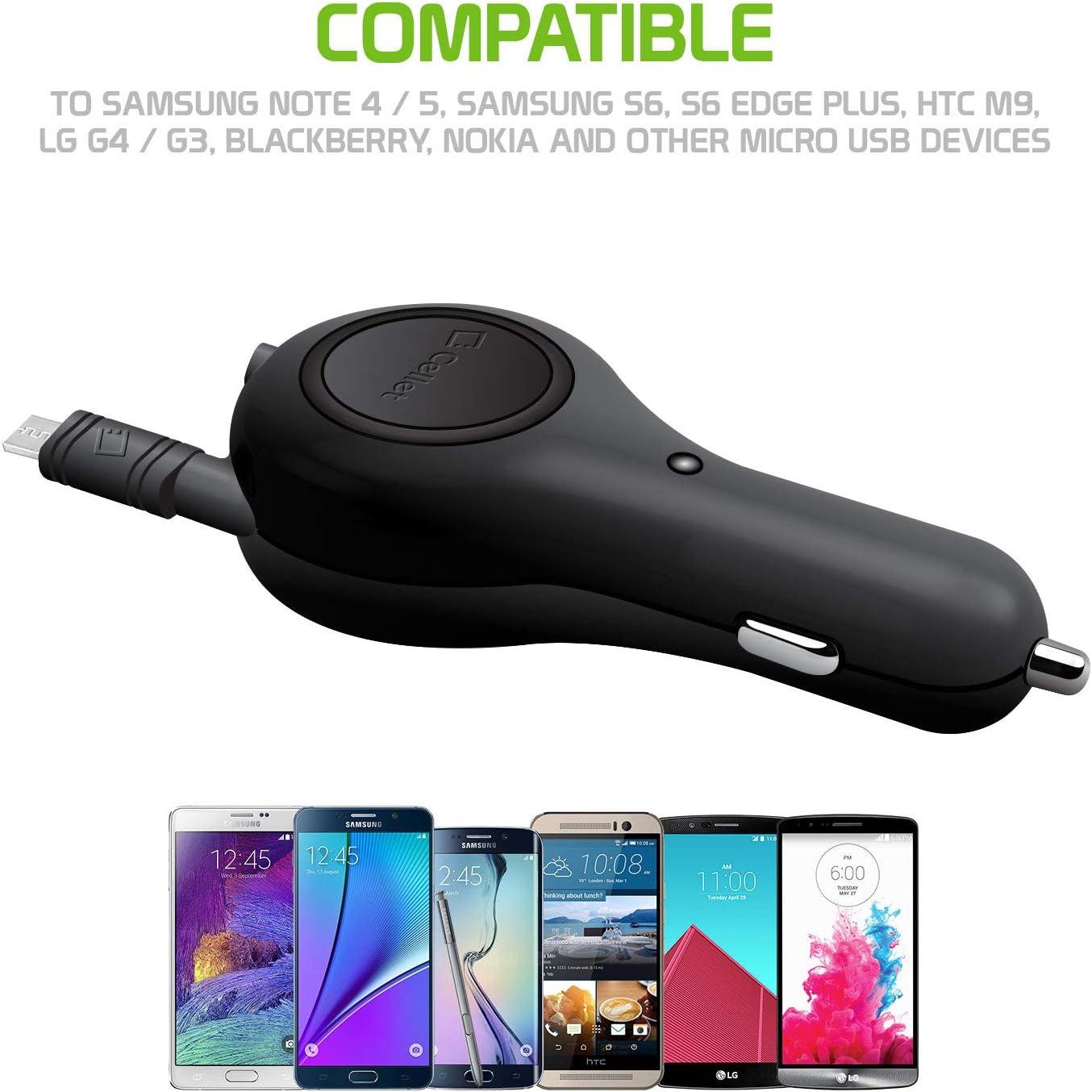 Tetra Cingular Flip 2//QuickFlip Flint//Pop 3//Pixi Glory REVVL//A30 Fierce Cellet 10 Watt // 2.1 Amp Micro USB Car Charger Retractable 3 Feet Cable Compatible for Alcatel Go Clip Flip
