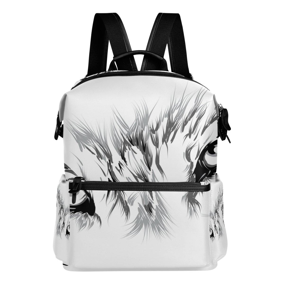 COOSUN Escuela de cara Mochila mochila Blanco de viaje de Blanco mochila y negro Lobo Multi fd601c