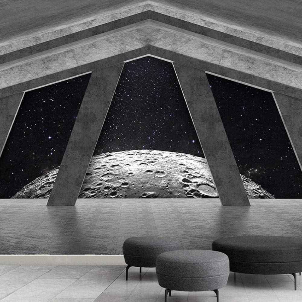 3d Extended Space Wallpaper Black Universe Starry Sky Moon Wallpaper Studio Theme Hotel Bedroom Background 150cmx105cm Amazon Com