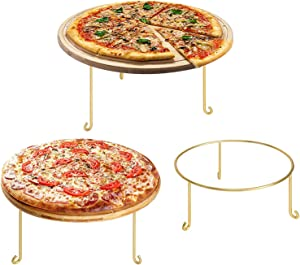 MyGift Modern Brass Metal Wire Round Pizza Pan Riser Display Racks, Set of 3