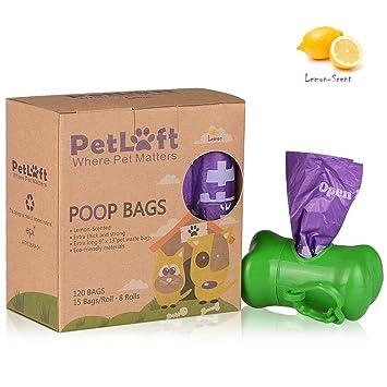 PetLoft Bolsa de residuos para perros, biodegradable, duradera y ecológica, con tecnología EPI, dispensador incluido (15 bolsas por rollo, ...