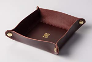 The Tulip Tree USA Handmade Luxury Hydrophobic Leather Valet Tray, Ring Dish, Jewelry Organizer, for Home Decor, Wedding Gifts, or Travel. Medium Size, Gold/Burgundy/Bordeaux