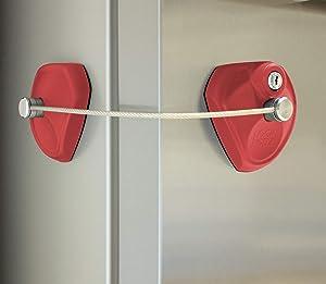 LOCK PODZ Refrigerator Lock, Freezer Lock, Cabinet Lock, Child Safety Lock, Mini Fridge Lock, Fridge Lock with Keys, Fridge Lock for Adults, Lock for Dorm Fridge, Color Red