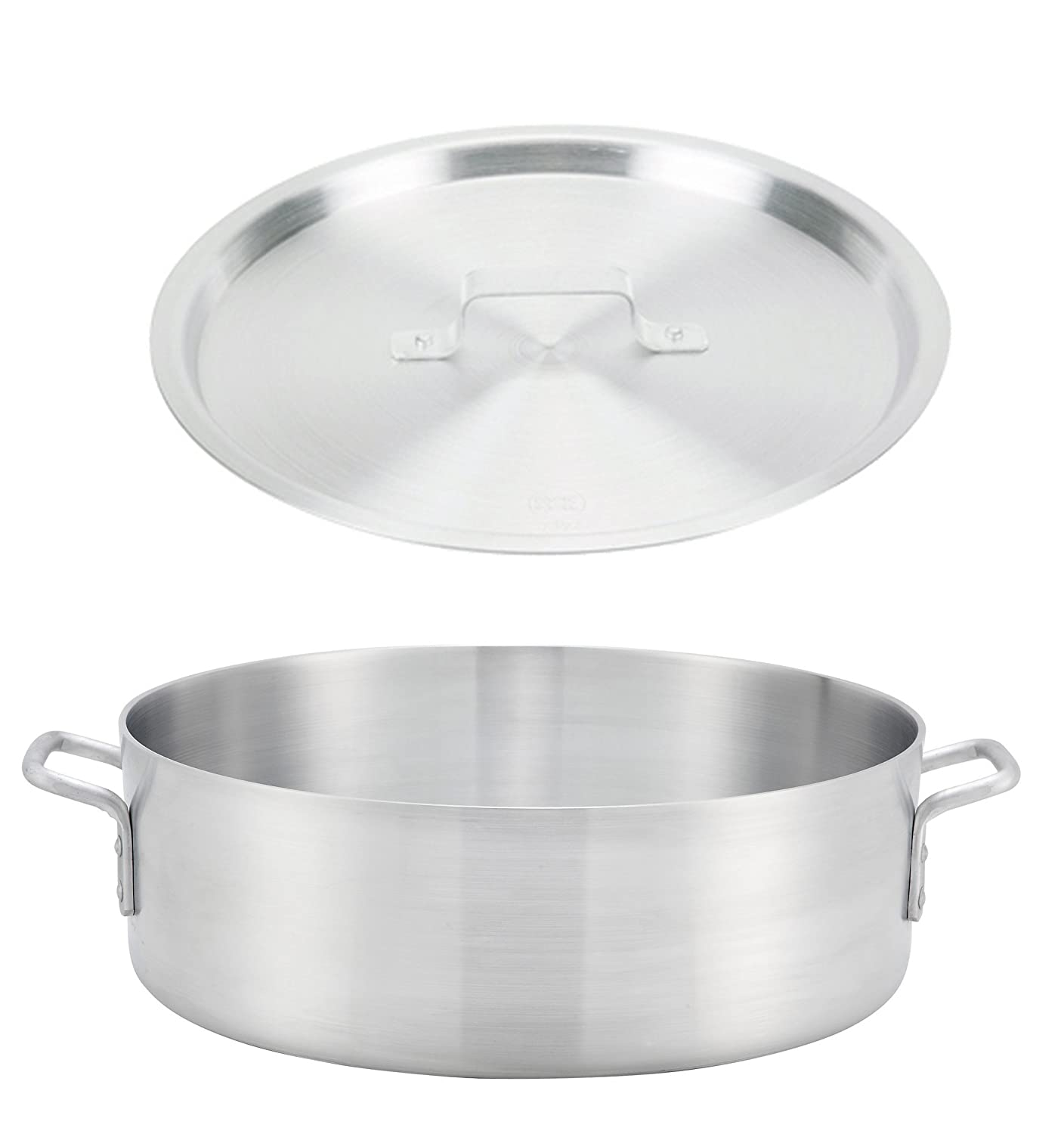 "Winco ALB-40, 40-Quart 22.8"" x 6"" Standard Heavy Aluminum Brazier Pan with Cover, Heavy-Duty Commercial Grade Braiser Pan with Lid, NSF ALB-40+ALPC-140"