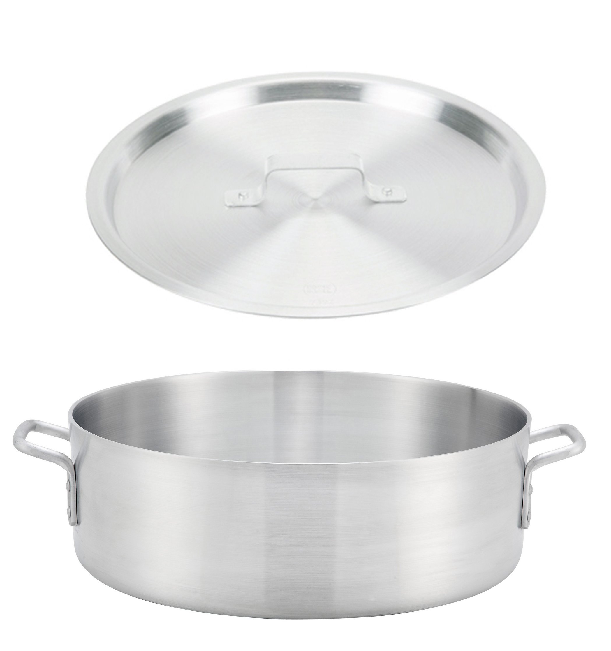Winco ALB-35, 35-Quart 21.7'' x 6'' Standard Heavy Aluminum Brazier Pan with Cover, Heavy-Duty Commercial Grade Braiser Pan with Lid, NSF