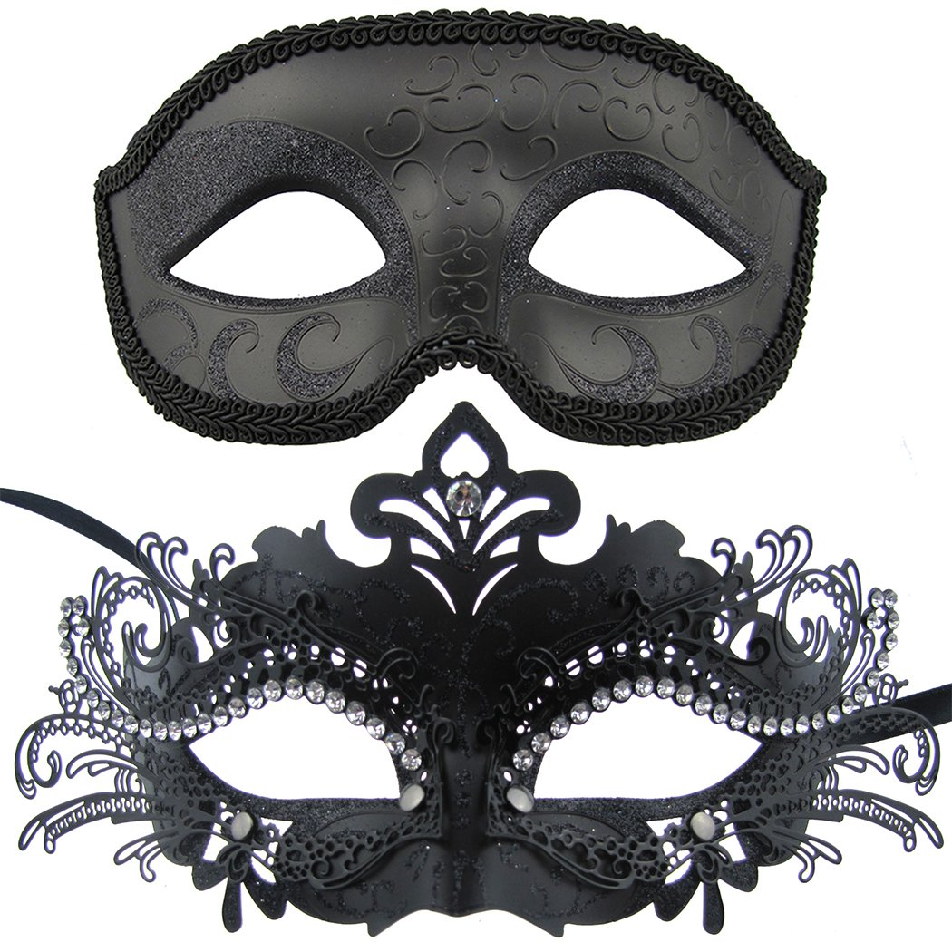 Couple Masquerade Metal Masks Venetian Halloween Costume Mask Mardi Gras Mask (Black+Black)