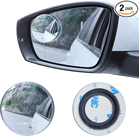 Silver GD123 2-Pack Universal Convex Wedge Shaped 49mm Blind Spot Mirror for Car