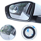 "LivTee Blind Spot Mirror, 2"" Round HD Glass Frameless Convex Rear View Mirror with wide angle Adjustable Stick for Cars SUV a"
