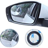 LivTee Blind Spot Mirror, 2' Round HD Glass Frameless Convex Rear View Mirror with wide angle Adjustable Stick for Cars…