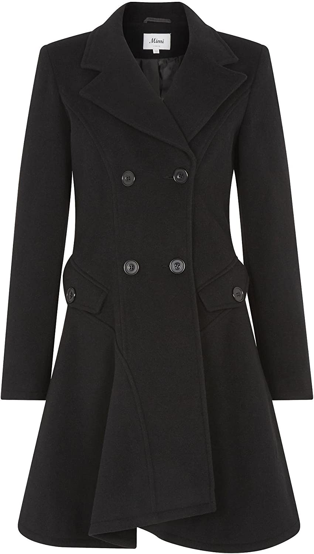 De la Cr/ème Womens Wool /& Cashmere Jacket Ladies Winter Double Breasted Flary Coat