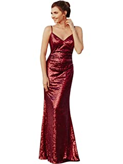 aaa99a7dc916 Ever Pretty Women's Spaghetti Straps Long Sequin Mermaid Party Evening  Dresses 07087