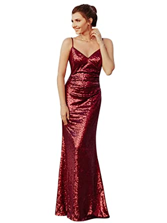 a584e9e77dee Ever Pretty Women's Adjustable Spaghetti Straps V Neck Floor Length Bodycon  Long Sequins Sparkling Evening Dresses