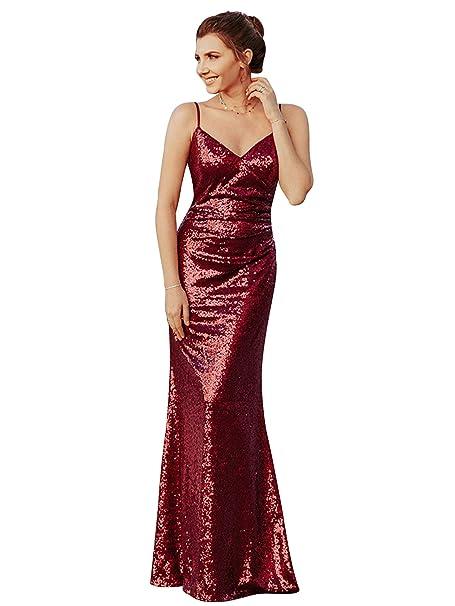 5939a87c6 Ever-Pretty Vestido Sirena de Fiesta de Noche Largo para Mujer con  Lentejuelas Cuello en V 07339  Amazon.es  Ropa y accesorios