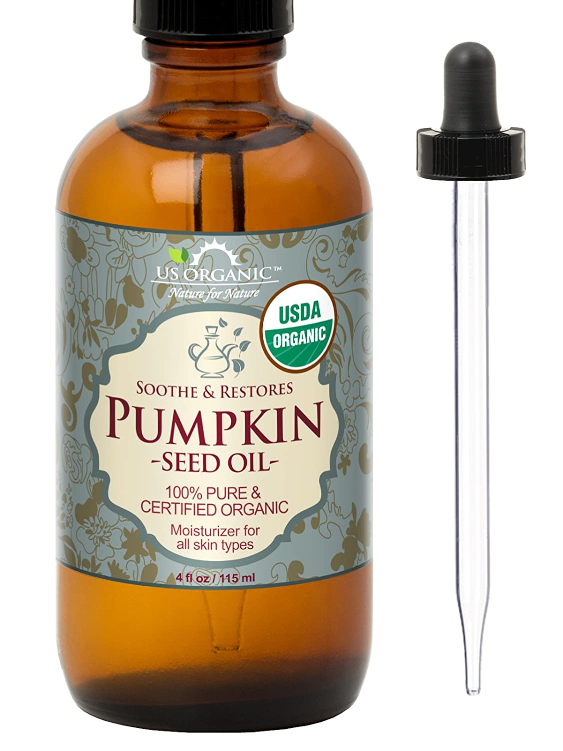 US Organic Pumpkin Seed Oil, USDA Certified Organic,100% Pure & Natural, Cold Pressed Virgin, Unrefined in Amber Glass Bottle w/Glass Eyedropper for Easy Application (4 oz (115 ml)) US Organic Group Corp