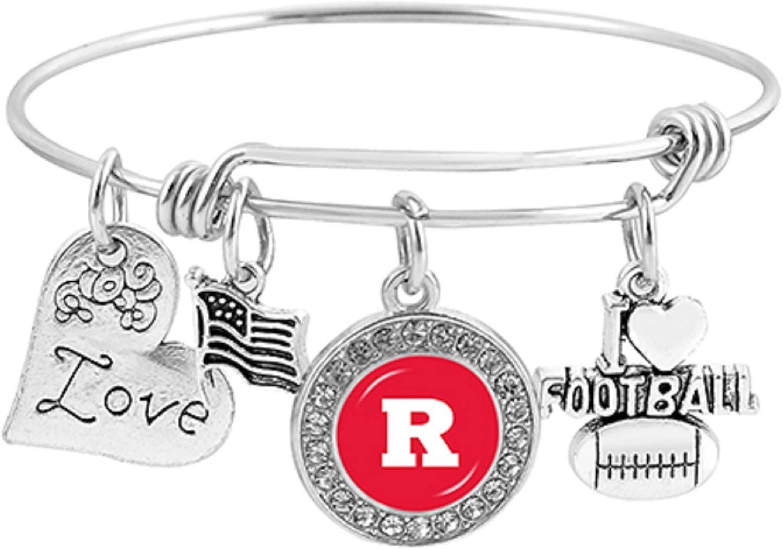 Swamp Fox Rutgers Scarlet Knights Metal Charm Bracelet Adjustable 7 to 9 with Round Rhinestone Charm