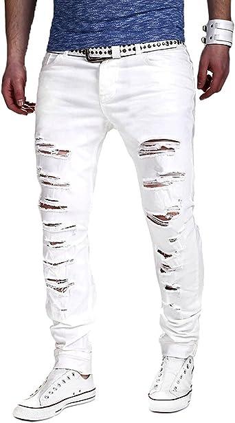 Minetom Pantalones Vaqueros Largos De Verano Para Hombre Blanco M Amazon Es Ropa Y Accesorios