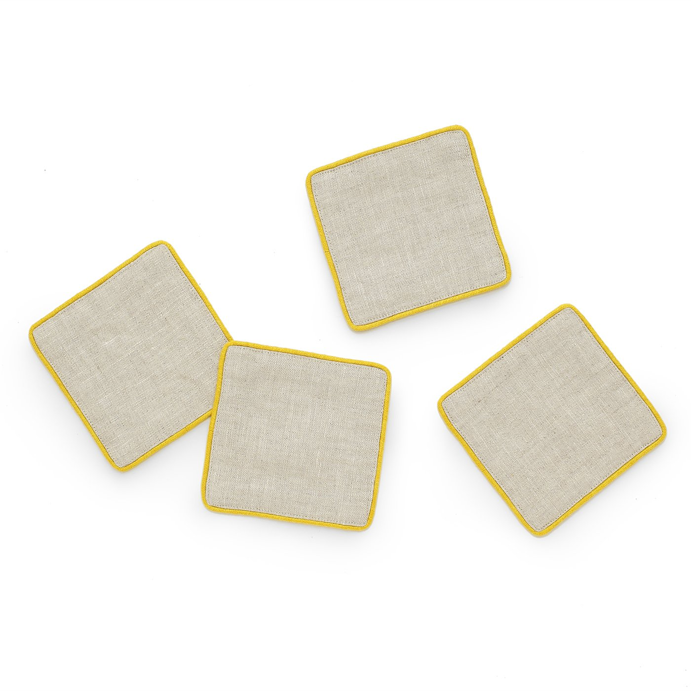 (10cm x 10cm, Yellow) - Solino Home 100% Pure Linen Coasters, Set of 4 Coaster Set With Cord Piping for Bar, Kitchen Coasters for Drinks, 10cm x 10cm Yellow Coasters 4 x 4 Inch イエロー B07F8VGC8R