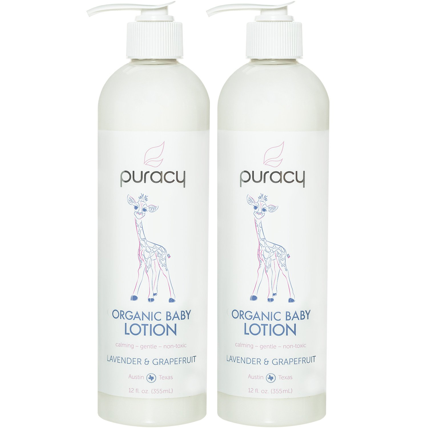 Puracy Organic Baby Lotion [2-Pack], Natural Calming Moisturizer, Lavender and Grapefruit, 12 Ounce Pump Bottle