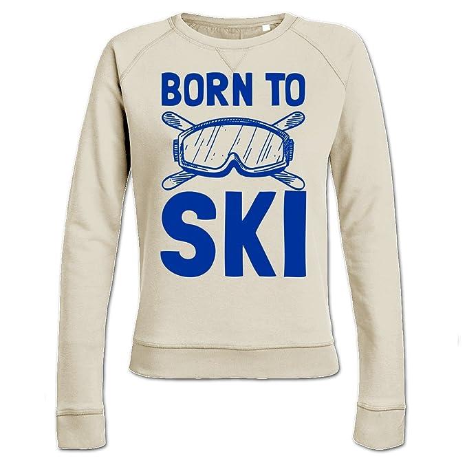 Sudadera de mujer Born To Ski Logo by Shirtcity: Amazon.es: Ropa y accesorios