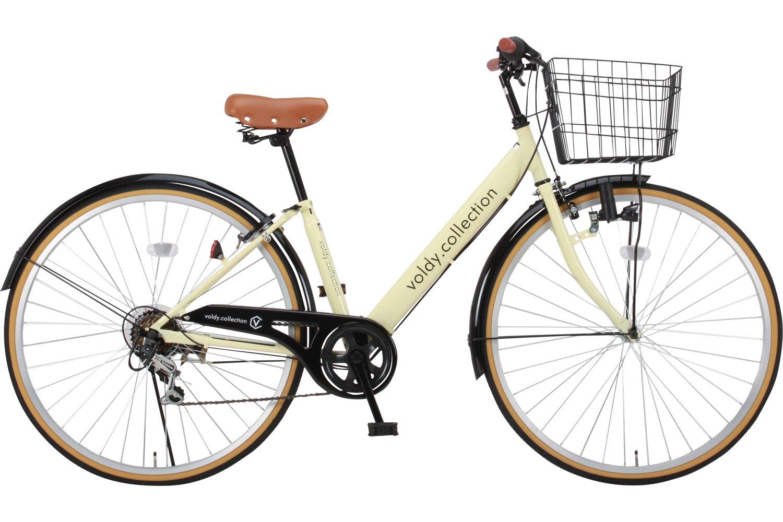 Voldy 完成自転車 27インチ LEDライト CTV-276-B シマノ製6段変速 男性 女性兼用 適正身長155cm以上 B01NBQ572Aアイボリー
