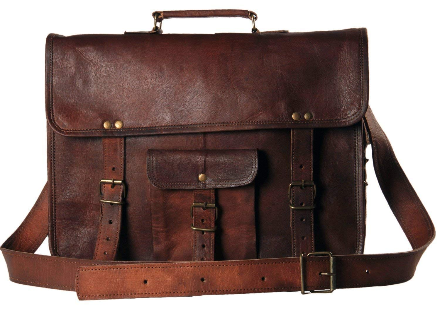 Art On Leather Genuine Leather Messenger Laptop Bag for Office with Strap