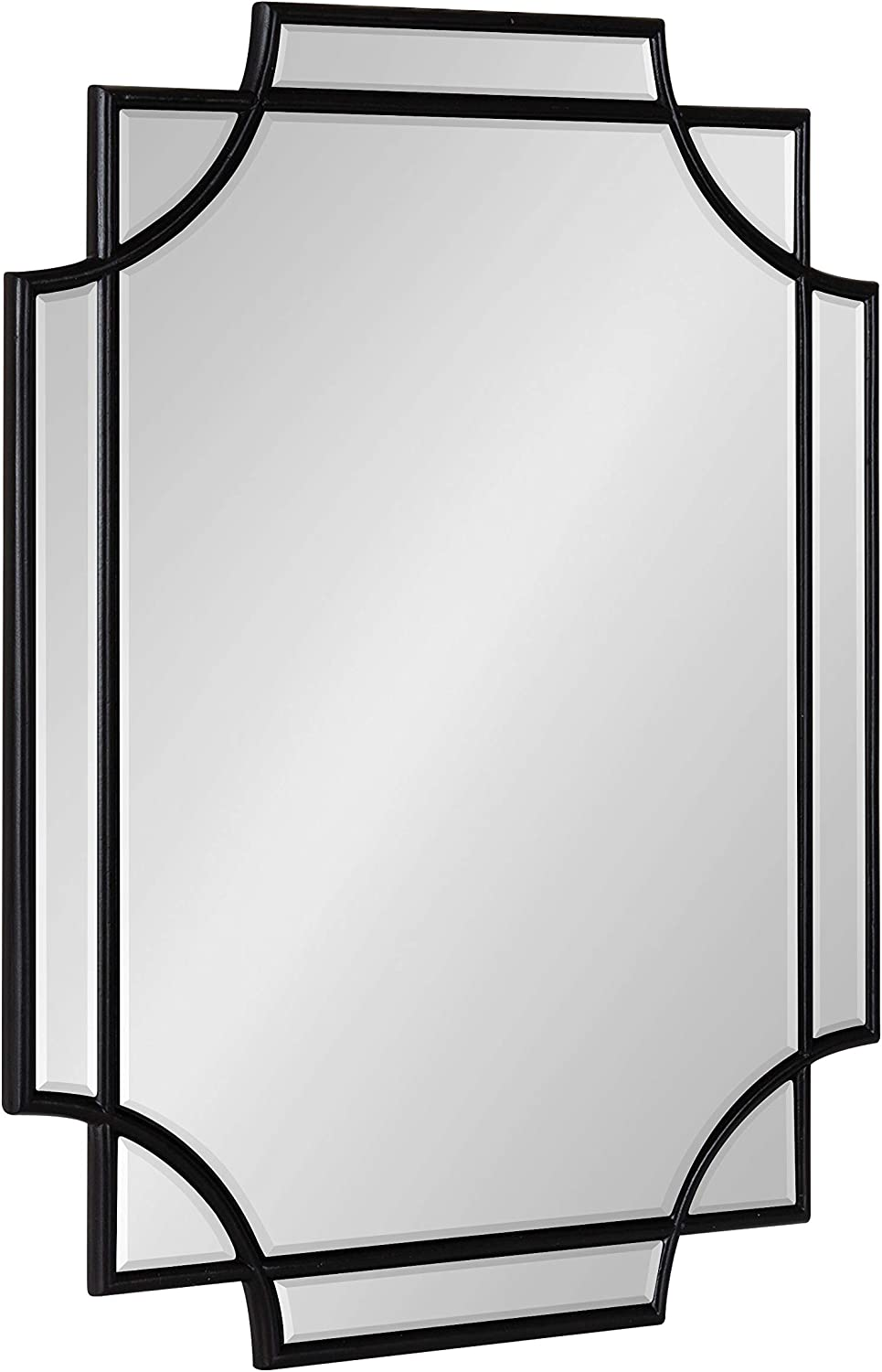 Kate and Laurel Minuette Glam Wall Mirror, 18 x 24, Black, Boho-Chic Home Decor for Wall