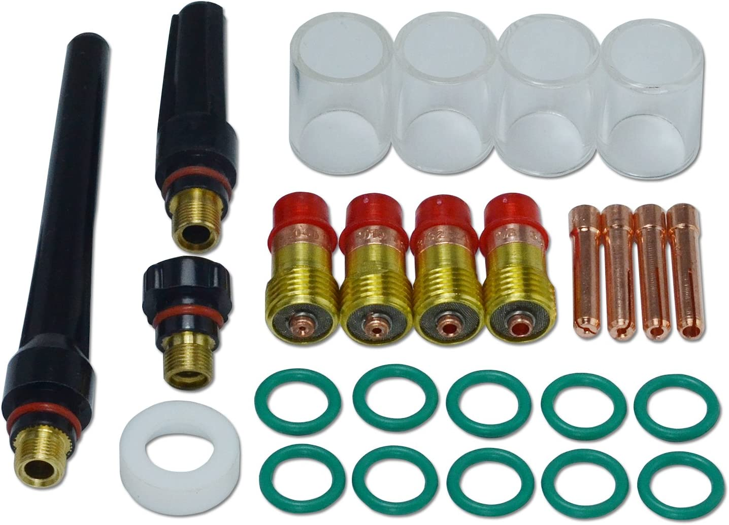 "Pyrex Cup #10 (5/8"" & 16mm) TIG Stubby Gas Lens 17GL040 10N22S (0.040"") 17GL116 10N23S (1/16"") 17GL332 10N24S (3/32"") 17GL18 10N25S (1/8"") for DB SR WP 17 18 26 TIG Welding Torch 26pcs"
