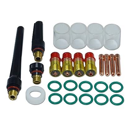Kits de lentes de gas Stubby TIG # 10 Copa Pyrex Kit DB SR WP 17