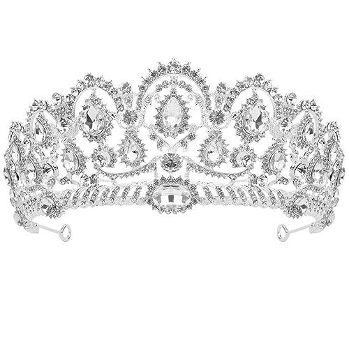 Sumersha Wedding Tiara Big Queen Crown Wedding Bridal Rhinestones Elegant Headband Pageant Princess Crown Wedding Prom Bridal Crown Shining Decoration For Women Party Daily Use Silver