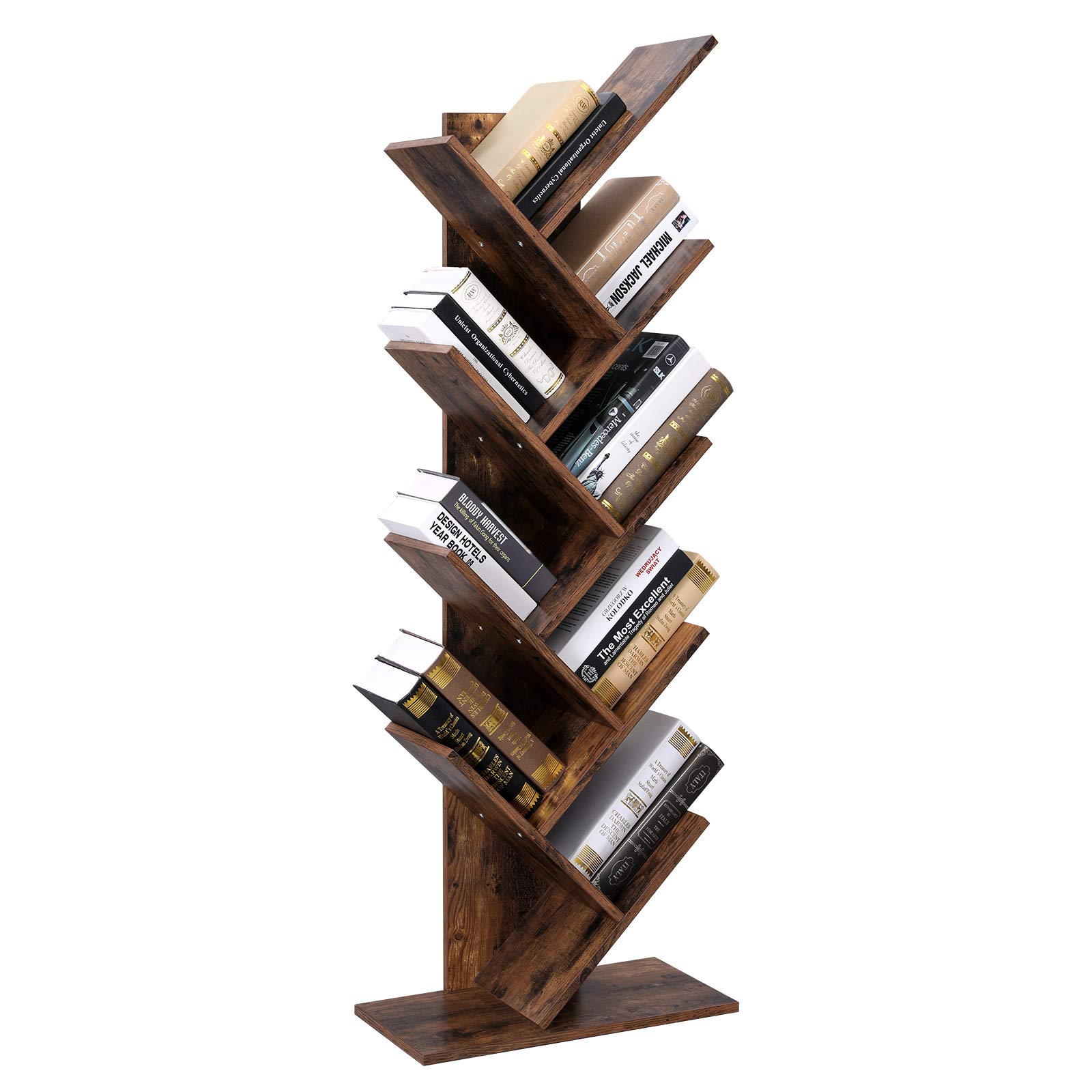 VASAGLE Tree Bookshelf, 8-Tier Floor Standing Bookcase, with Wooden Shelves for Living Room, Home Office, Rustic Brown ULBC11BX by VASAGLE (Image #5)