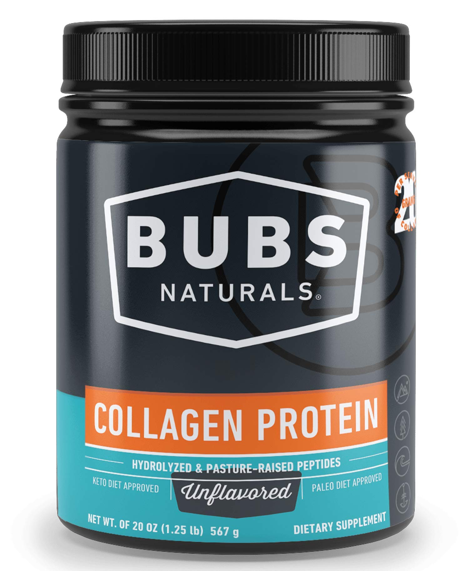 BUBS Naturals Pasture Raised Grass-Fed Collagen Peptides | Paleo & Keto Diet Friendly | Non - GMO | Dairy-Free Gluten-Free | Mixes Easy | Unflavored Collagen Powder | by BUBS Naturals