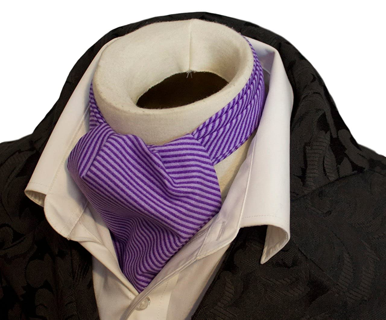 Elegantascot Handmade Pure Cotton Cravat Ascot Tie - Striped Patterns DC_Cotton_NavyTealStripe