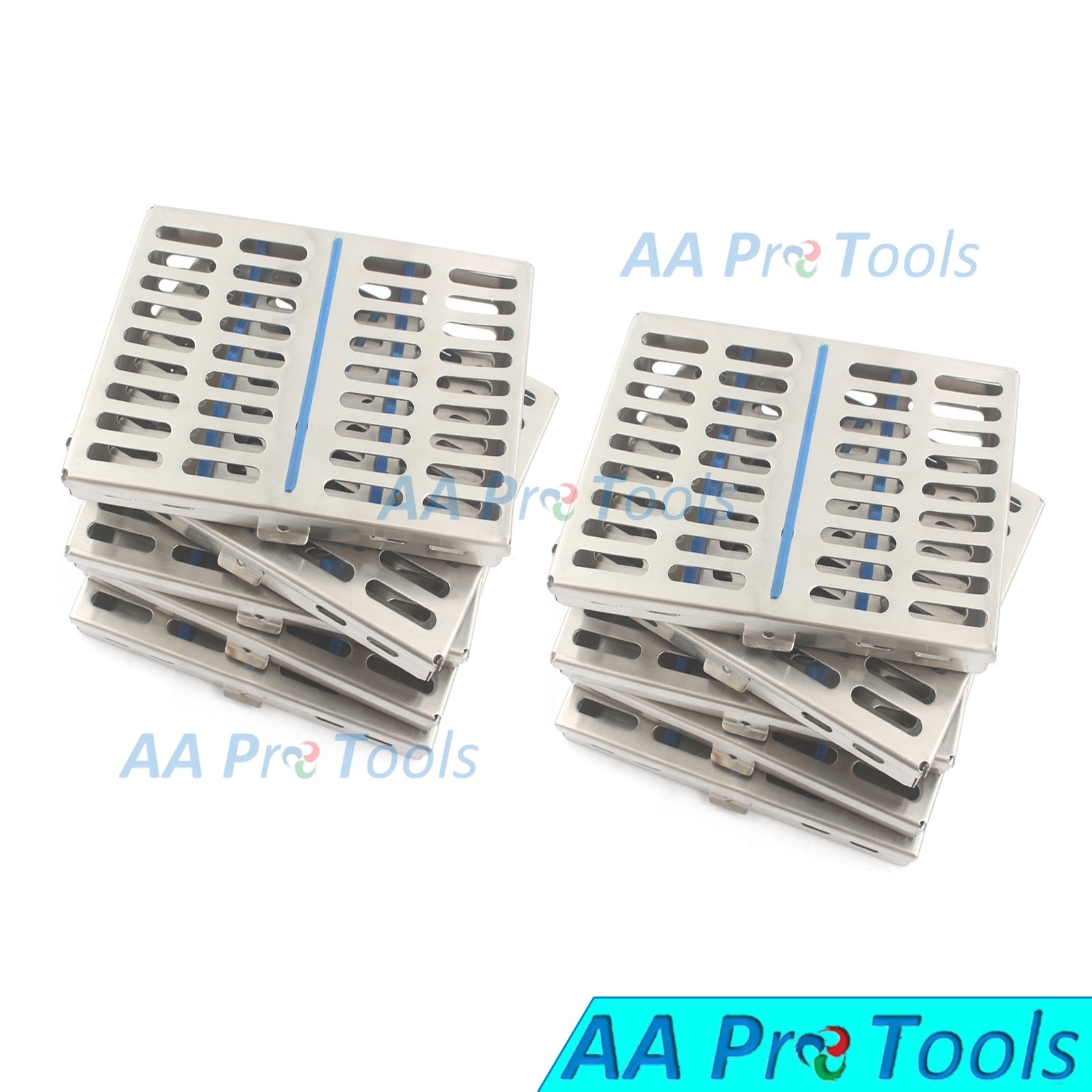 AA PRO GERMAN GRADE STEEL SET OF 10 DENTAL AUTOCLAVE STERILIZATION CASSETTE RACK BOX TRAY FOR 10 INSTRUMENT A+ QUALITY