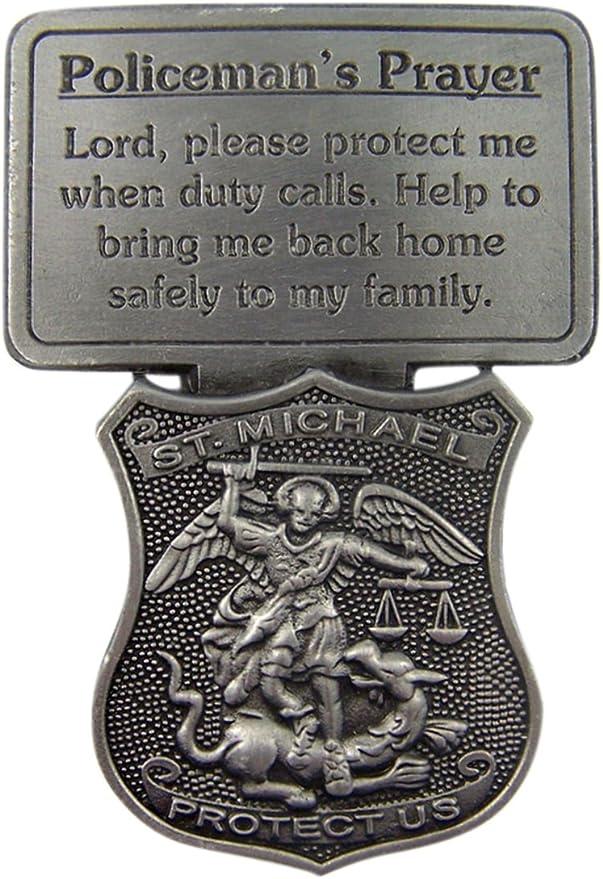 2 1//2 Inch Fine Pewter Firefighters Prayer Catholic Patron Saint Florian Visor Clip
