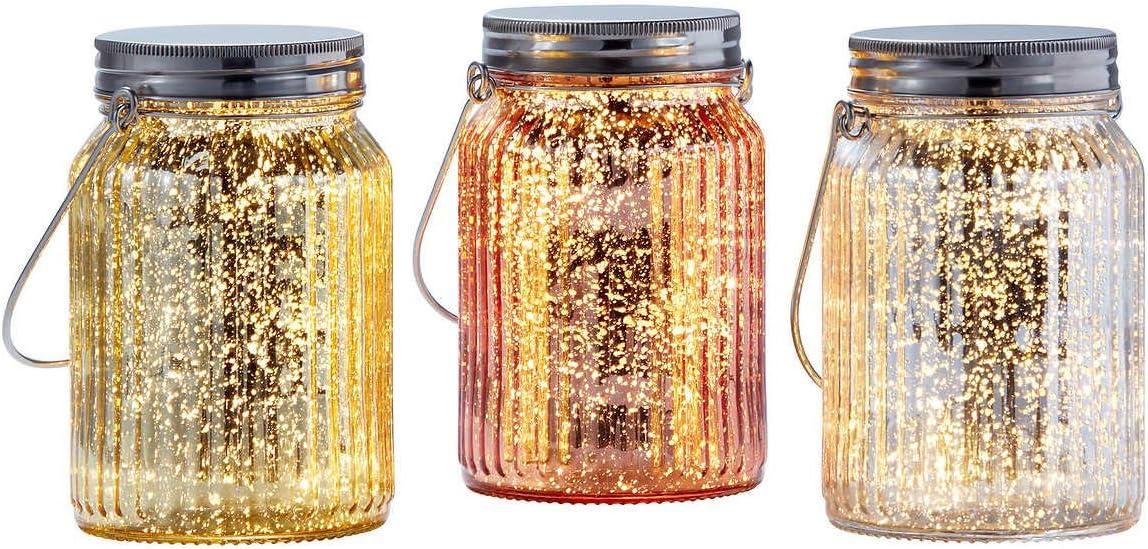 .Outside Inside Garden. Satz von 3 Colored Glass Jars mit Mini geführt Lights bei Silver, goldenen und stiegen goldenen mit Timer Switch, Perfect Centerpiece für Outdoor oder Indoor Use