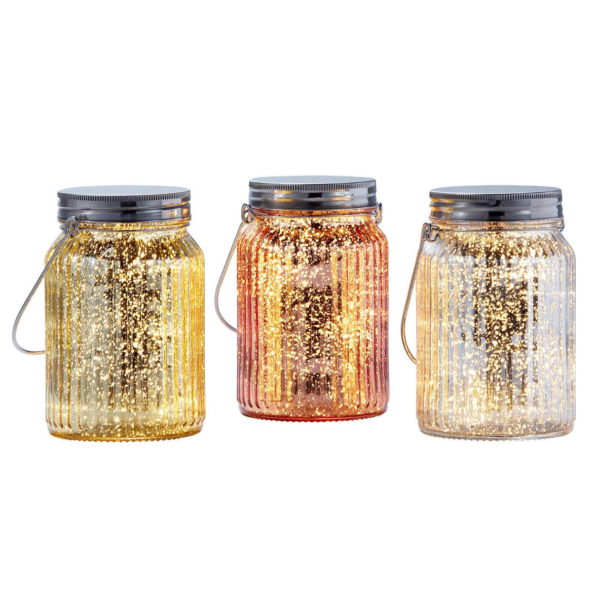 .Outside Inside Garden. Set of 3 Colored Glass Jars with Mini LED Lights in Silver Gold and Rose Gold with Timer Switch Perfect Centerpiece for Outdoor or Indoor Use