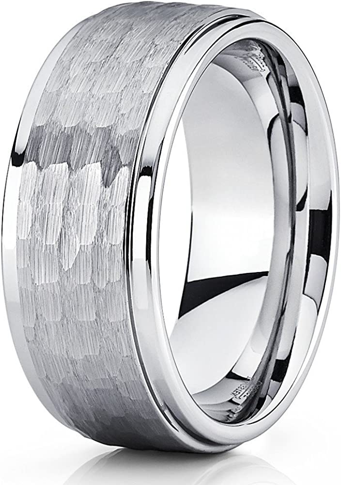Hammered Tungsten Wedding Band 9mm Silver Tungsten Ring Men's Tungsten Band Brushed Wedding Band Men & Women Comfort Fit
