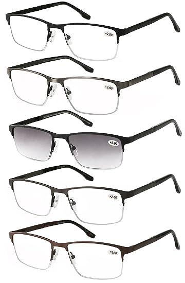 3914094075 Eyecedar 5-Pack Metal Half-frame Reading Glasses Men Spring Hinges  Stainless Steel Material