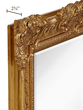 Hamilton Hills Large Ornate Gold Baroque Frame Mirror Aged Luxury Elegant Rectangle Wall Piece Vanity, Bedroom, or Bathroom Hangs Horizontal or Vertical 100 24 x 36