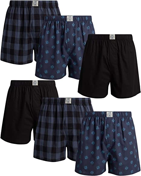 Lucky Brand Mens Cotton Boxer Briefs with Functional Fly 6 Pack