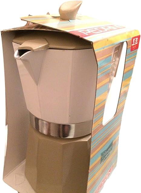 Pedrini: Sei Moka 6 tazas espresso café Pot, Aluminio Vintage italiano marrón/blanco: Amazon.es: Hogar